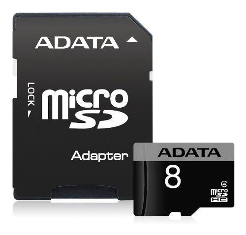 Adata memoria micro sd hc 8gb clase 4 celulares adaptador sd