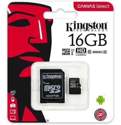 Kingston memoria micro sd hc 16gb uhs-i cl10 celulares 80mb