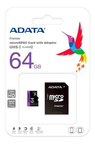 Memoría Micro Sd 64gb Clase 10 Adata