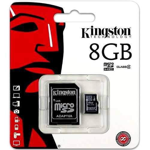 Memoria kingston micro sd sdhc 8gb clase 4 con adaptador sd