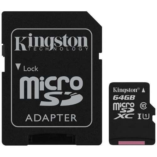 Memoria kingston micro sd sdxc 64gb clase 10 + adaptador sd