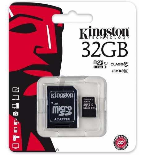 Memoria micro sd 32gb kingston clase 10 + adaptador sd orig