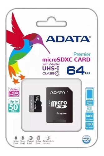 Memoria micro sd 64gb adata uhs-i ultra rápida clase 10