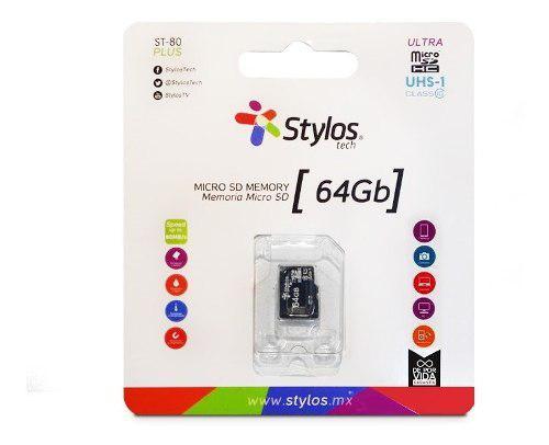 Memoria Micro Sd 64gb Clase 10 Uhs-i Plus St80 80mb/s Stylos