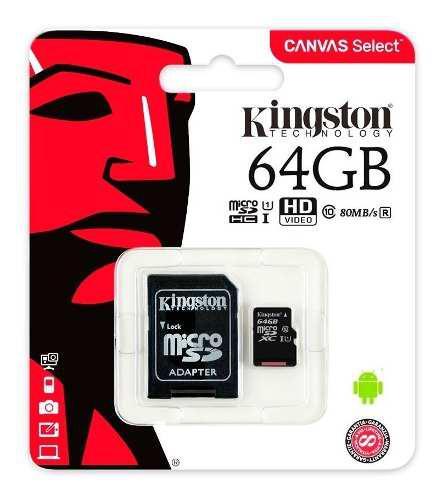 Memoria micro sd 64gb kingston canvas clase 10 full