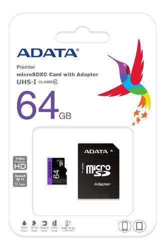 Memoria micro sd adata 64gb uhs-i clase 10 ultra rapida