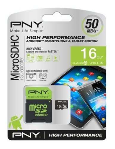 Memoria micro sd clase 10 pny 16 gb celulares camaras psp