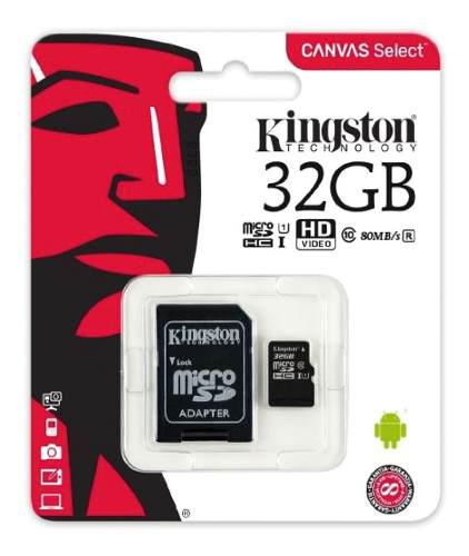 Memoria micro sd hc 32gb kingston clase 10 full hd s9 note