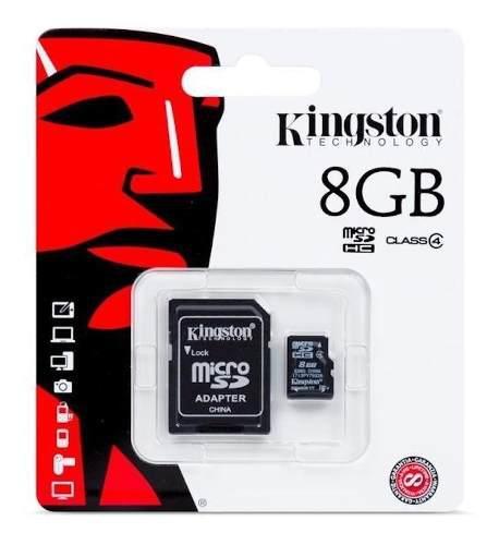 Memoria micro sd kingston 8gb clase 4 con adaptador sd
