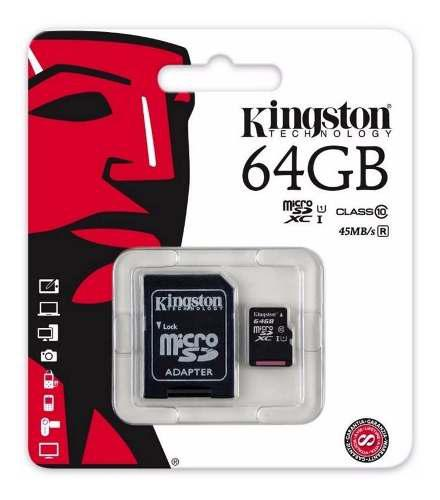Memoria micro sd xc kingston 64gb uhs-i clase 10 original