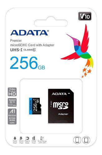 Memoria Micro Sdxc 256gb Adata Clase 10 Video Full Hd V10