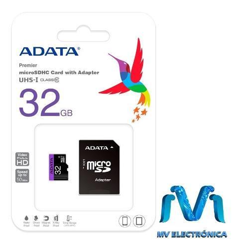 Memoria microsd 32gb adata 50mb/s 32 gb micro sd celular mv