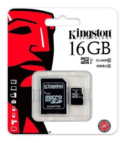 Micro sd 16gb hc clas 10 kingston adaptador