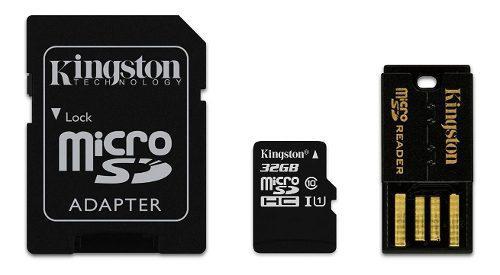 Micro sd 32gb kit adaptador sd usb kingston mbly10g2/32gb