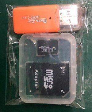 Micro sd 64gb lote 3/pzs uhs-i c10 adaptadores sd y usb