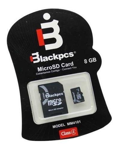 Micro sd 8gb clase 4 memoria blackpcs mm4101-8