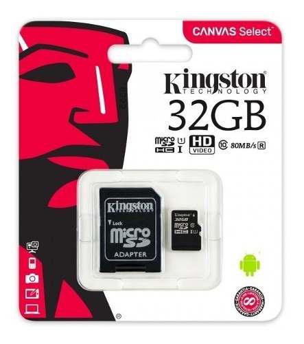 Micro sd kingston canvas select, 32gb clase 10 envio gratis