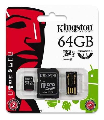 Nueva tarjeta de memoria kingston 64gb microsdxc, usb + sd