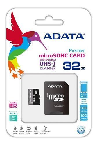 Paquete 10 memorias adata micro sdhc uhs-i 32gb clase 10