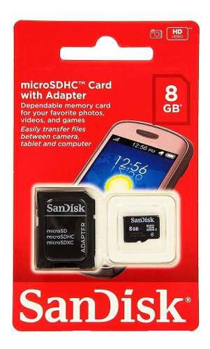 Tarjeta de memoria micro sdhc de 8gb sandisk clase 4 con