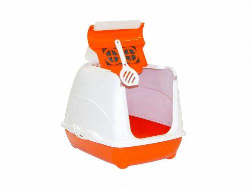 Arenero gato grande moderna flip cat naranja con pala