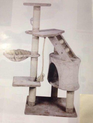 Centro de diversión p/gato con cuerda, escondite y repisas