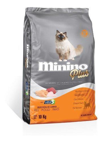 Minino plus 10 kg alimento croqueta gato adulto