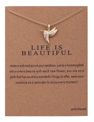Collar c/dije mensaje la vida es hermosa mpb-068