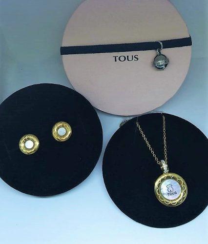 Set Tous Medalla Brillante + Aretes + Caja Regalo Mujer Lujo