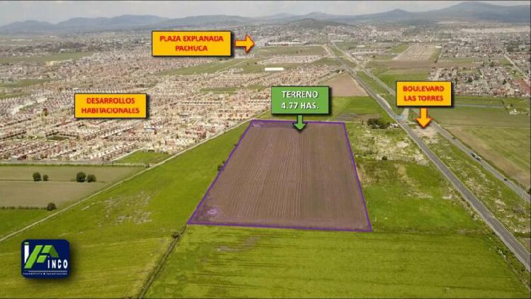 Terreno de 4.77 hectáreas en boulevard las torres, a 3