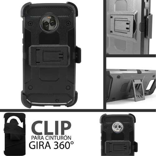 Funda moto g6 plus protector uso rudo clip tipo metal