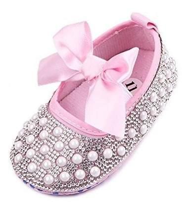 Arco de bebe recien nacido bling crystal pearl mary zapatos