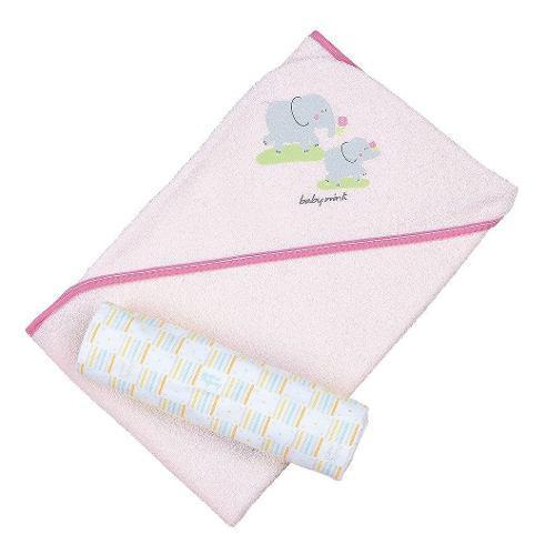 Baby mink kit baby toalla con capucha y sábana bebé rosa