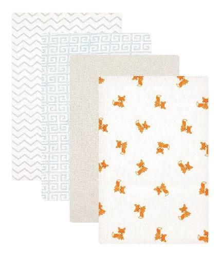 Manta de franela recién nacido 4 pzas luvable friends fox