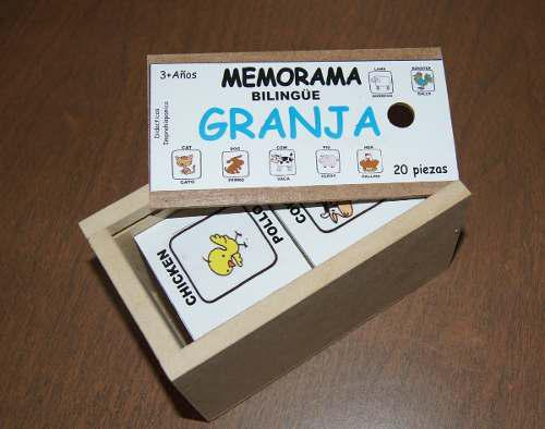 Memorama granja, español - ingles, didactico, paq. 2 cajas.