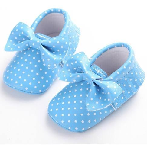 Zapatos bebé recién nacido arco dots suave niños girls pr