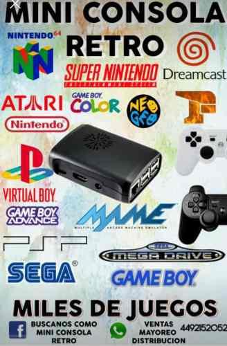 Mini consola videojuegos retro 2 ctrl analogos 32gb recalbox