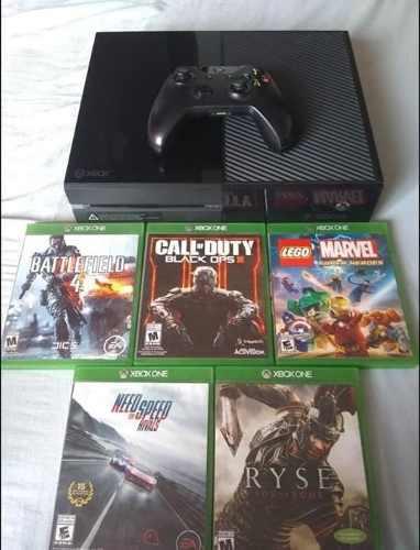Xbox one con 5 juegos, control, cables y caja