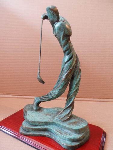 Escultura De Bronce Golfista Original Figura De Golf Trofeo