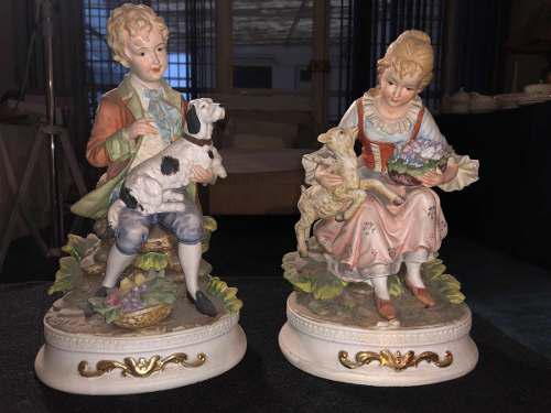 Figuras antiguas pareja de granjeros en porcelana japonesa