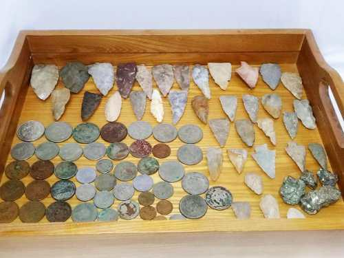 Lote 96 piezas puntas de flecha,monedas mex.pirita,coleccion