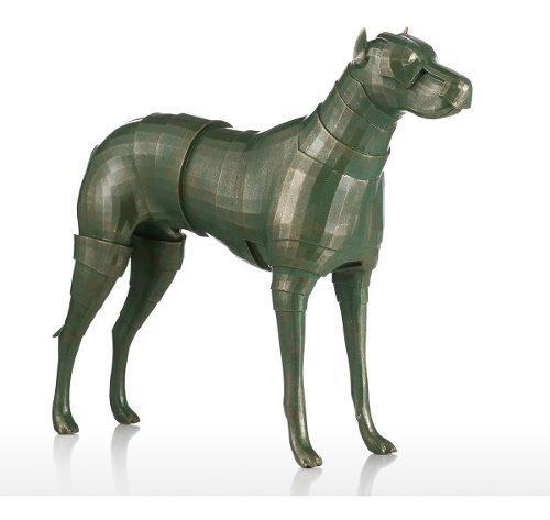 Perro armadura fibra de vidrio escultura casa decoración pe