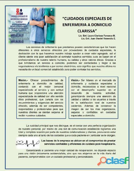 Cuidados especiales de enfermería clarissa