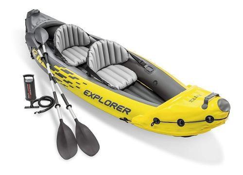 Lancha intex 2 personas con remos y bomba kayak inflable msi