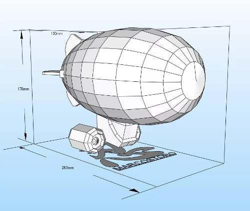 Dirigible papercraft pepakura origami papiroflexia armar