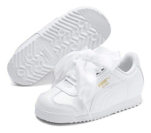 Tenis puma roma niñas bebe heart patent moda listones