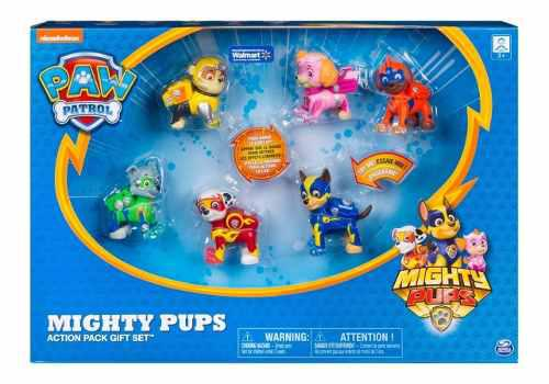Paw patrol set figuras con luces cachorros mighty pups