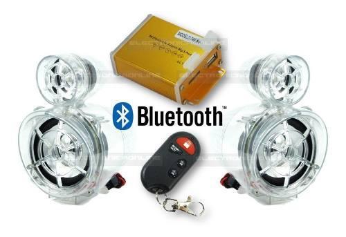 Bocinas amplificador para moto alarma bluetooth usb sd fm
