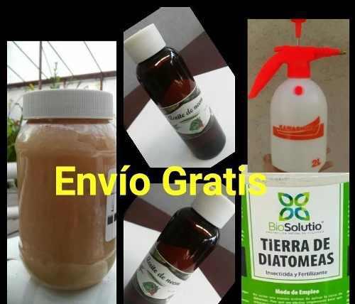 Combo diatomeas jabón potásico aceite neem fumigadora de 2