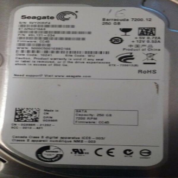 Discos duros sata 250gb